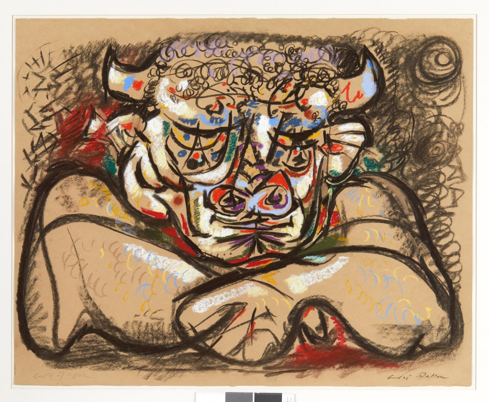 André Masson (1896-1987), Le Minotaure, 1942,pastel, signé deux foisau recto au crayonet à l'encre, 52x 66cm. Estimation : 9000/100