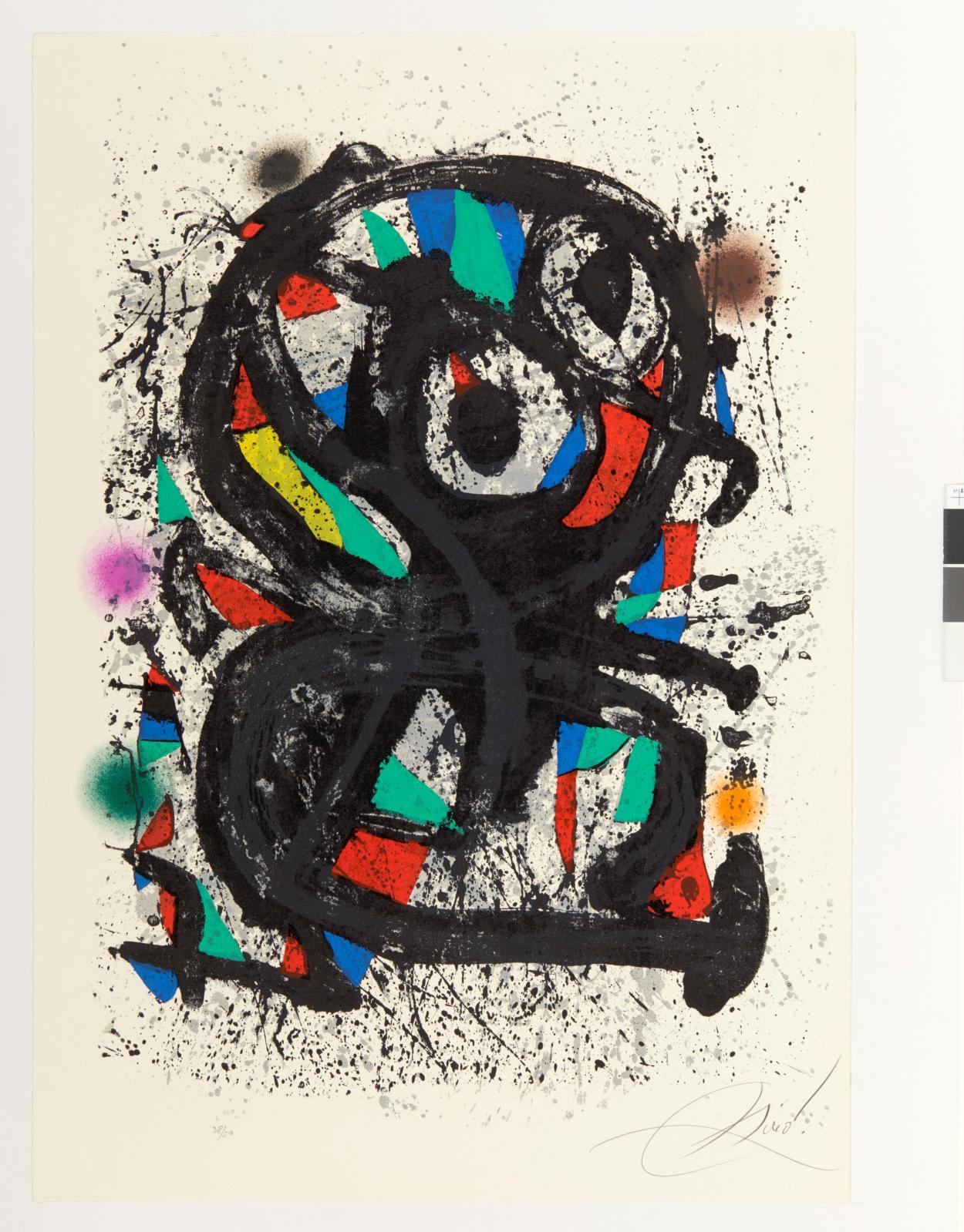 Joan Miró (1893-1983),Grand Palais, lithographieen couleurs avec projections, 1974, épreuve tiréeà 50exemplaires numérotés, signée au