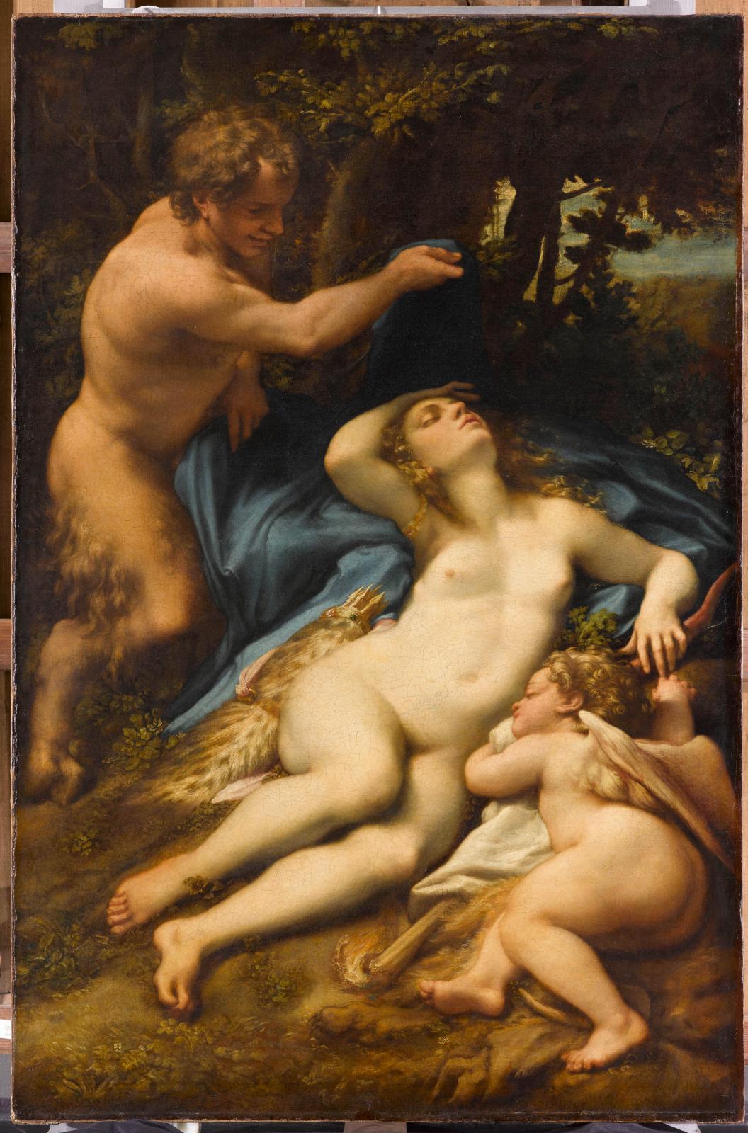 Antonio Allegri, dit le Corrège (1489-1534), Vénus et l'Amour découverts par un satyre, vers 1525, huile sur toile, 188x124cm, Paris, musée du Louv