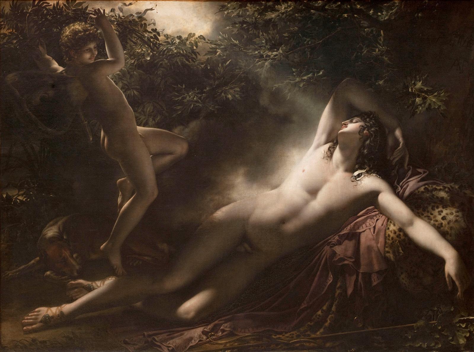 Anne Louis Girodet de Roussy-Trioson(1767-1824), Endymion, effet de lune, dit aussi le Sommeil d'Endymion, 1791, huile sur toile, 198x261cm, Paris