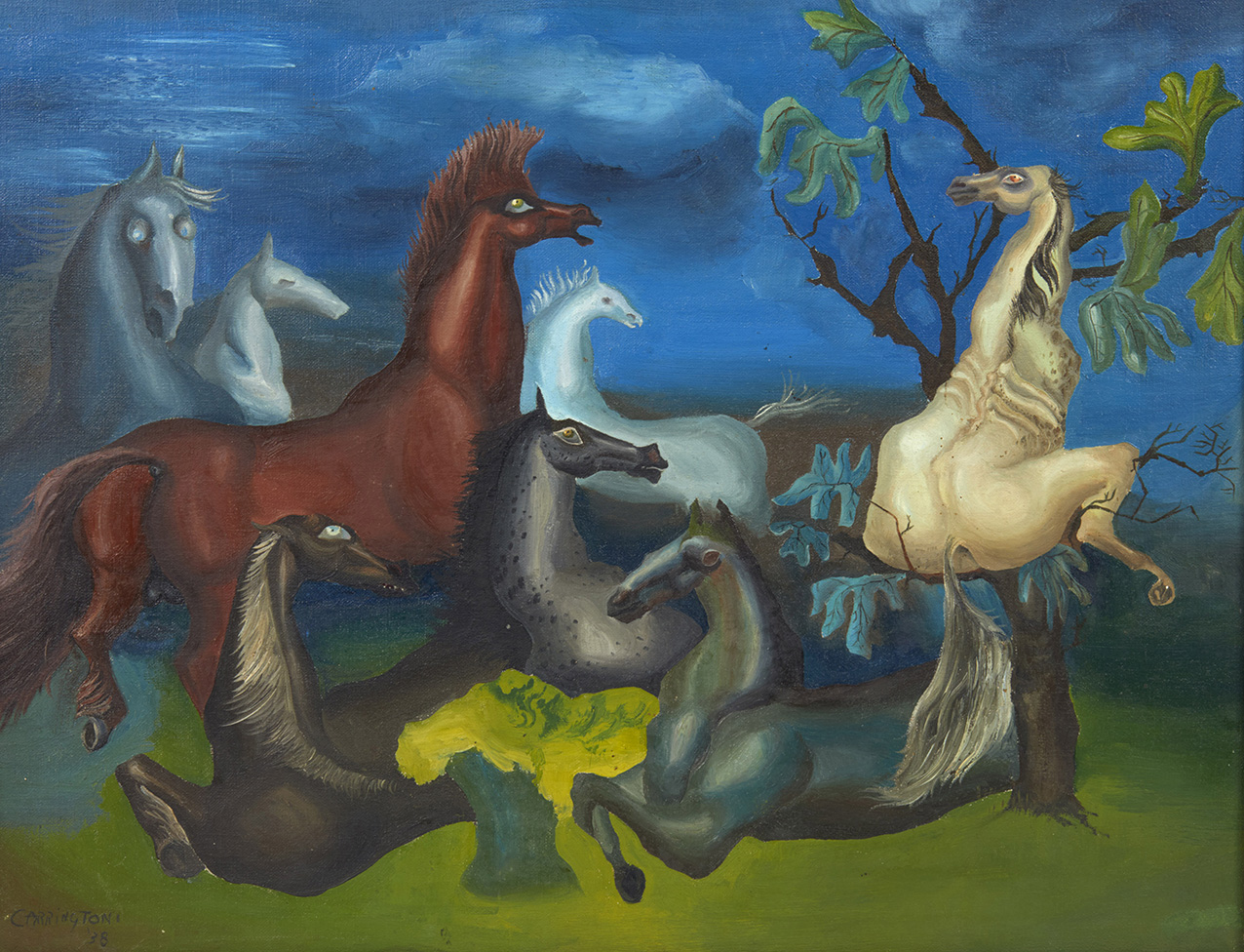 Leonora Carrington, Lord Candlestick's Horses, 1938, oil on canvas, signed and dated lower left, 35.5 x 46 cm (approx. 13.97 x 18.1 in).©