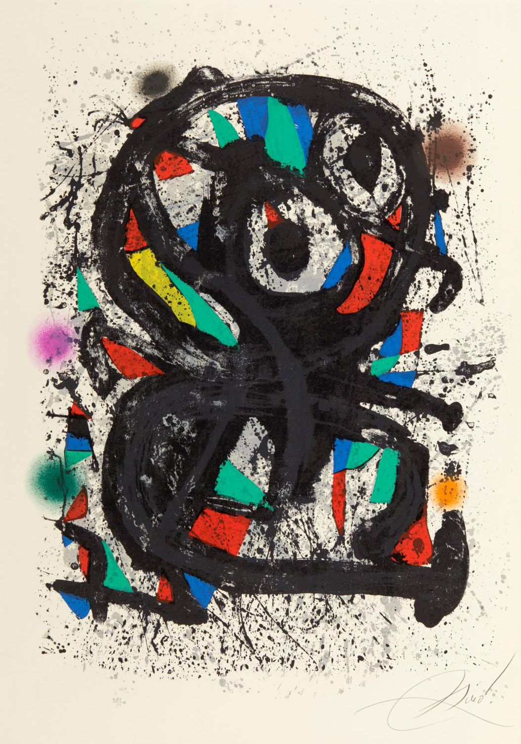 Joan Miró (1893-1983), Grand Palais, color lithograph with splatters, 1974, proof printed in 50 numbered copies, signed in pencil on the f