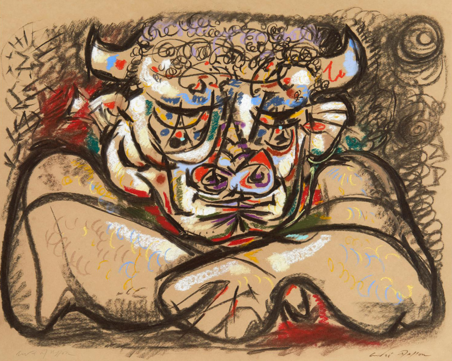 """André Masson (1896-1987), Le Minotaure (""""The Minotaur""""), 1942, pastel, signed twice on the front in pencil and ink, 52 x 66 cm (20.48 x 25"""