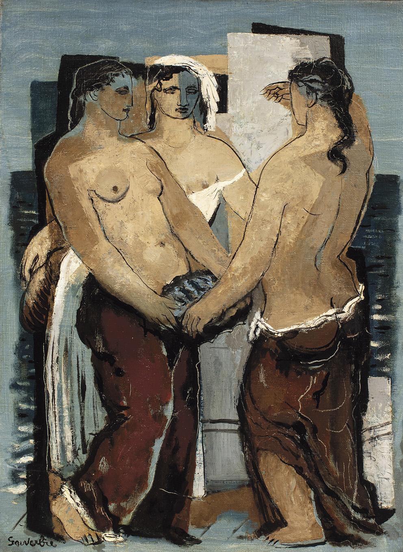 Jean Souverbie (1891-1981), Le Bonheur du marin (The Sailor's Happiness), c. 1927, oil on canvas, 81 x 60 cm (approx. 31.9 x 23.6 in).Resu