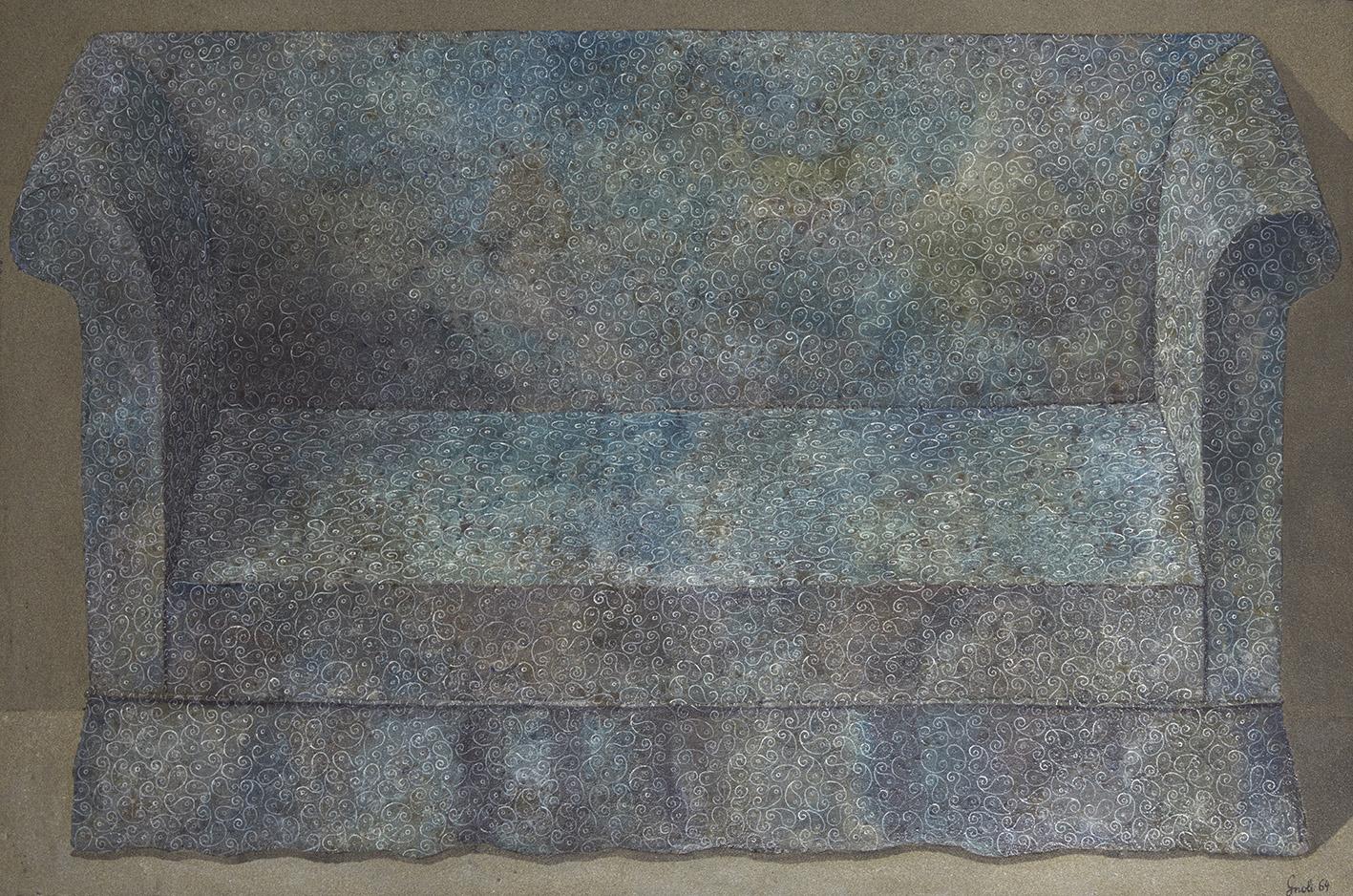 Domenico Gnoli (1933-1970), Le Canapé Bleu (Blue Sofa), 1964, acrylic and sand on canvas, 97 x 147 cm (approx. 37 x 57.87 in).Auction Art