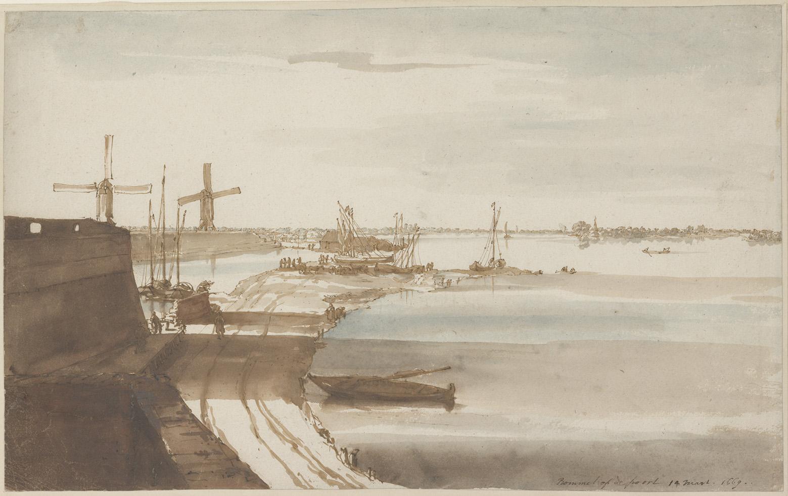 Constantijn Huygens, Vue panoramique du Waal à Zaltbommel, 1669, plume et encre brune, aquarelle, 20,8 x 33,1 cm (détail), Fondation Custo