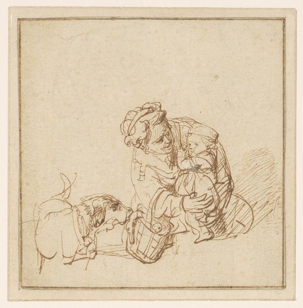 Rembrandt Harmenszoon Van Rijn, dit Rembrandt (1606-1669), Femme rassurant un enfant effrayé par un chien, vers 1635-1636, plume et encre