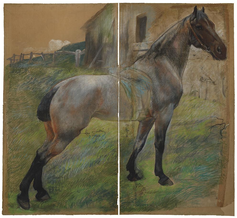 Albert Besnard (1849-1934), Étude de cheval, grandeur nature, 1883,pastel sur papier vélin, 237x256cm. ©MAD, paris / christophe delliè