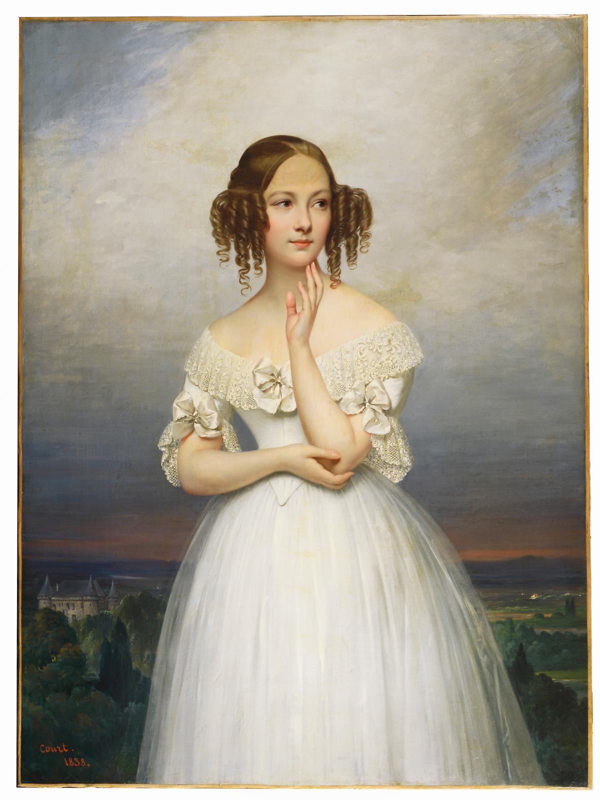 Joseph-Désiré Court 1797-1865, Portrait d'Angélique Pauline Dupont, signé et daté 1838, huile sur toile, 130x97cm (détail). © Suzanne N