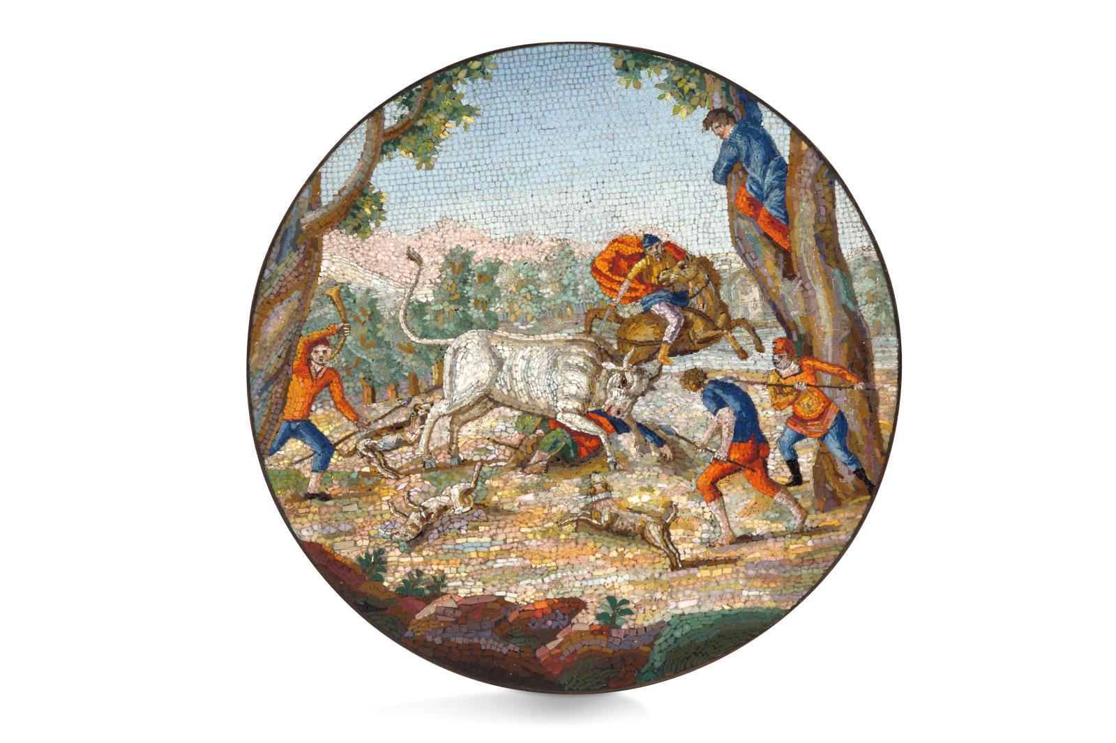 En parfait état, cette micromosaïque (diam.7,3cm) romaine de la fin du XVIIIesiècle est attribuée à Giacomo Raffaelli (1753-1836). Virt