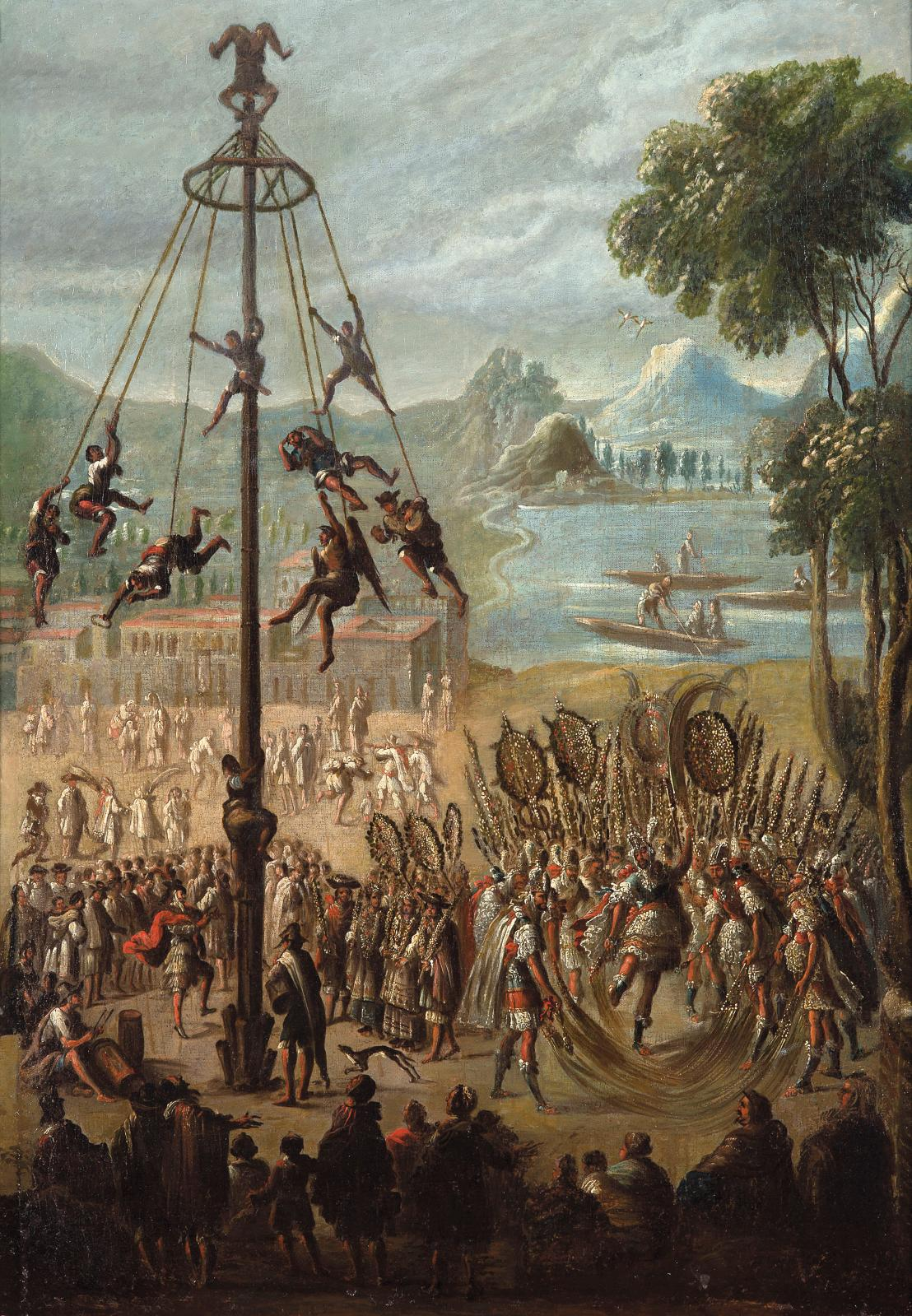 École coloniale du XVIesiècle, La Danse du volador,huile sur toile (détail), 72,5x52,5cm. Adjugé: 284320€