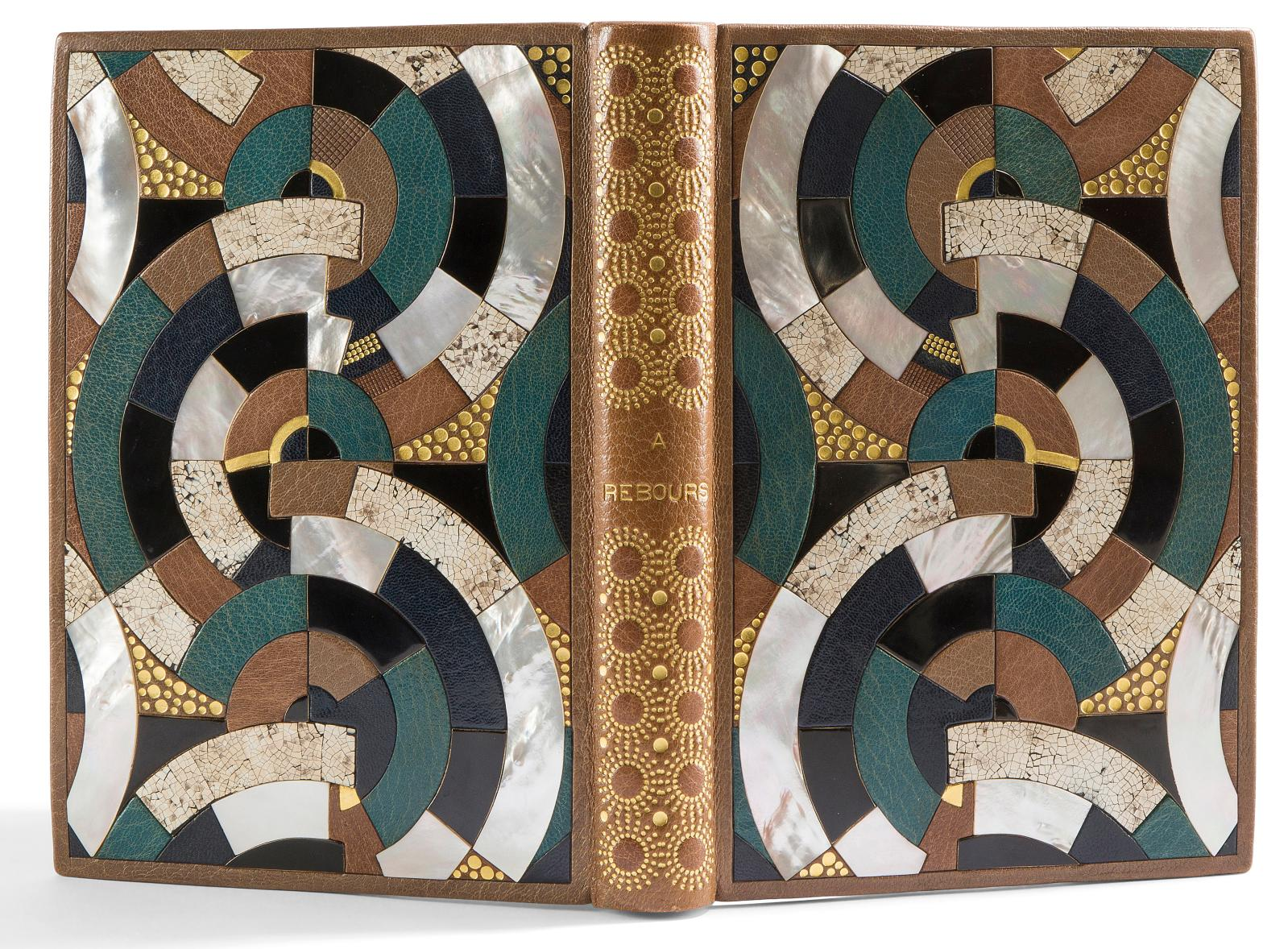 """À Rebours"" by Joris-Karl Huysmans, bound by Pierre Legrain (1889-1929) in Morocco leather, mother-of-pearl, lacquer and eggshell; illustrated with 22"