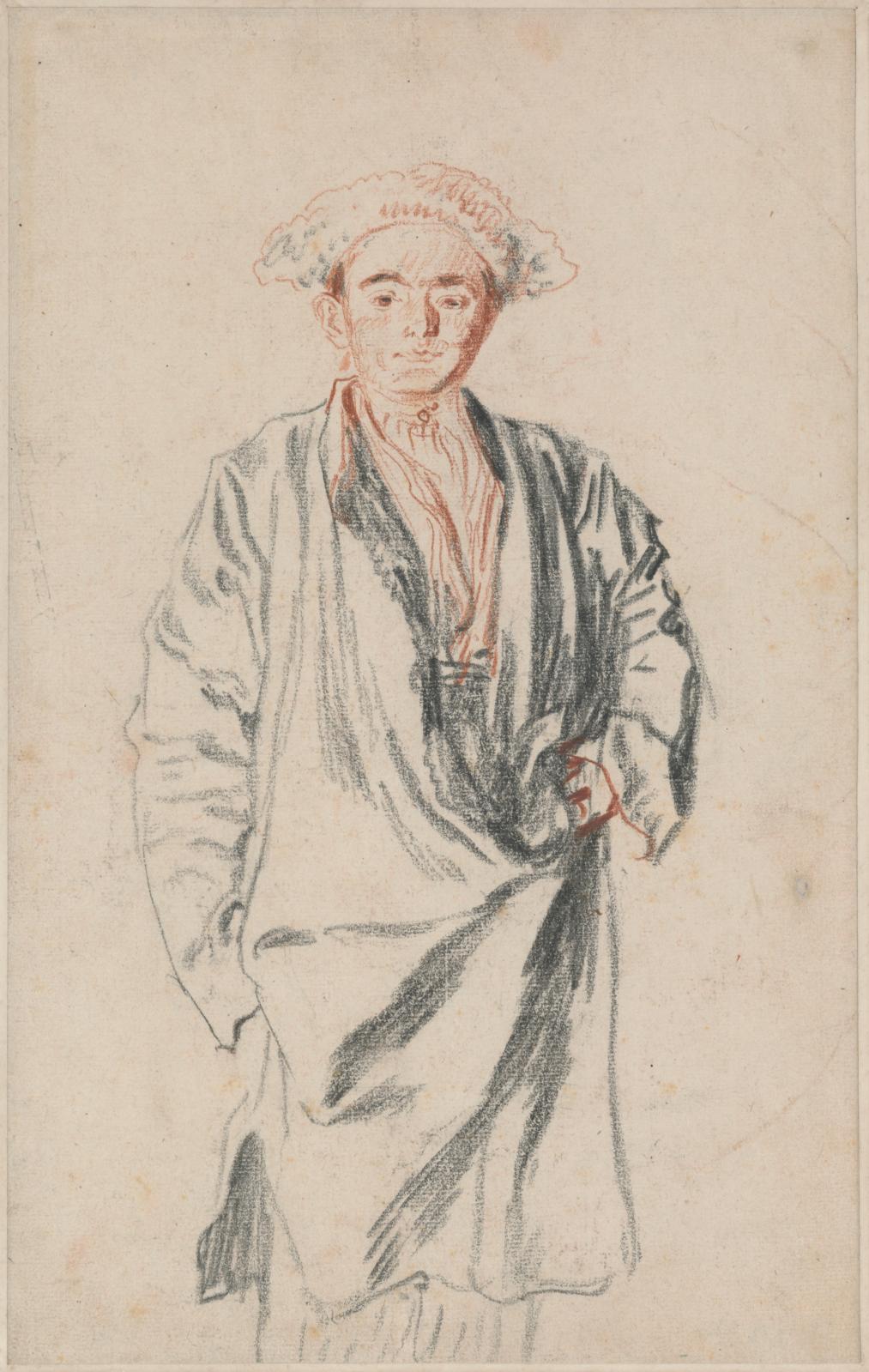 Antoine Watteau (1684-1721), Homme en pied (Persan), 1715, sanguine et pierre noire, 32 x 20,1 cm. Fondation Custodia, collection Frits Lu