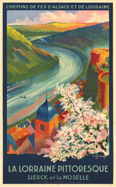 €704André Galland (1886-1965), Sierck and Moselle (shown), and Claude Gadoud (1905-1991), Les Trois Épis, Turckheim, two posters for the C