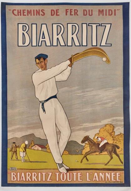 €7,897After Ramiro Arrue (1892-1971), Chemins de fer du Midi, Biarritz toute l'année, imprimerie Pierre Lafitte, Paris, 102 x 71 cm (40.16