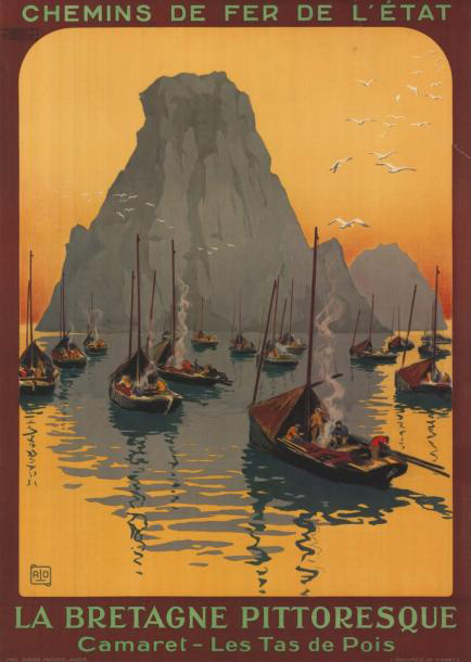 €682Charles-Jean Hallo, known as Alo (1882-1969), La Bretagne pittoresque. Camaret. Les Tas de Pois. Chemins de fer de l'État, 1920, 75 x