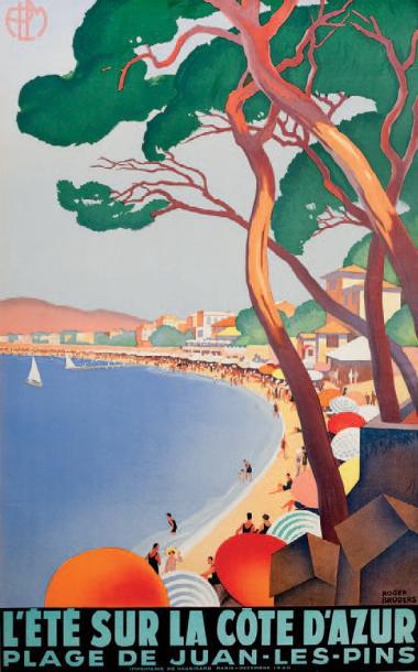 €5,081Roger Broders (1883-1953), P.L.M. L'été sur la Côte d'Azur. Plage de Juan-les-Pins, 1930, imprimerie de Vaugirard, Paris, 99.5 x 61.