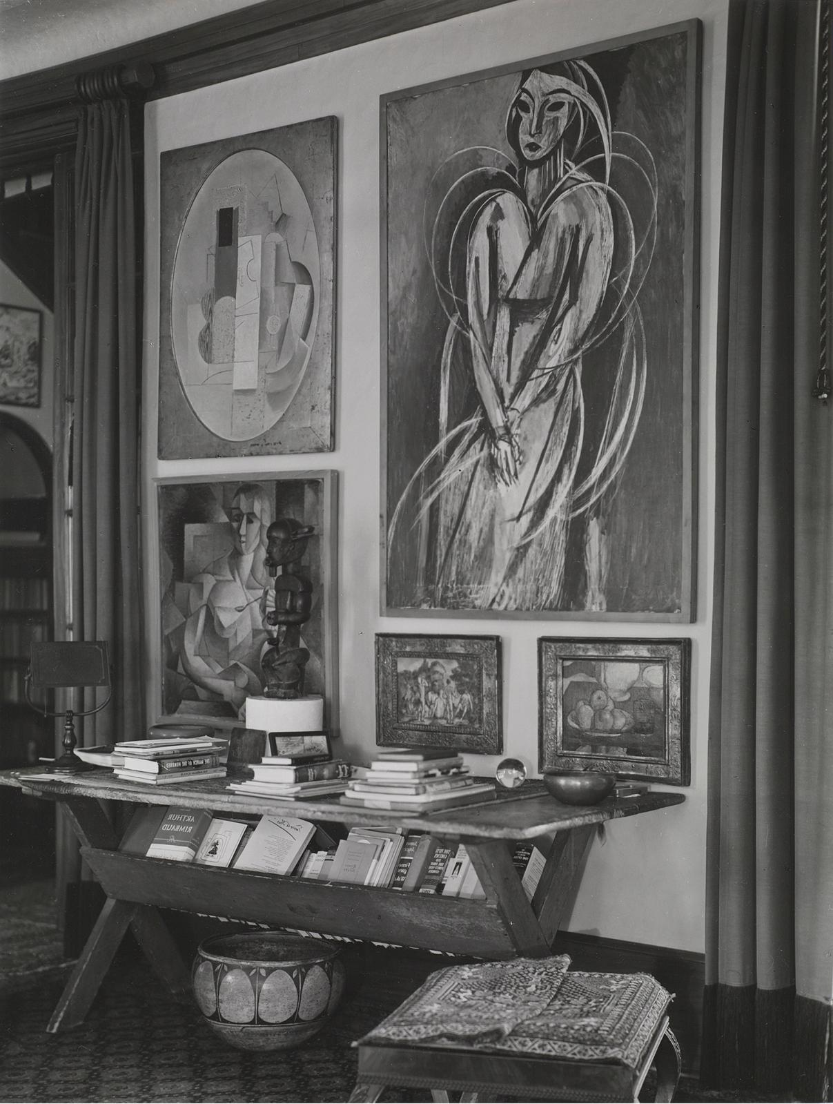 Photograph by Charles Sheeler. Living room of Louise and Walter Arensberg's house, 7065 Hillside Avenue, Los Angeles, October, 1939 (detai