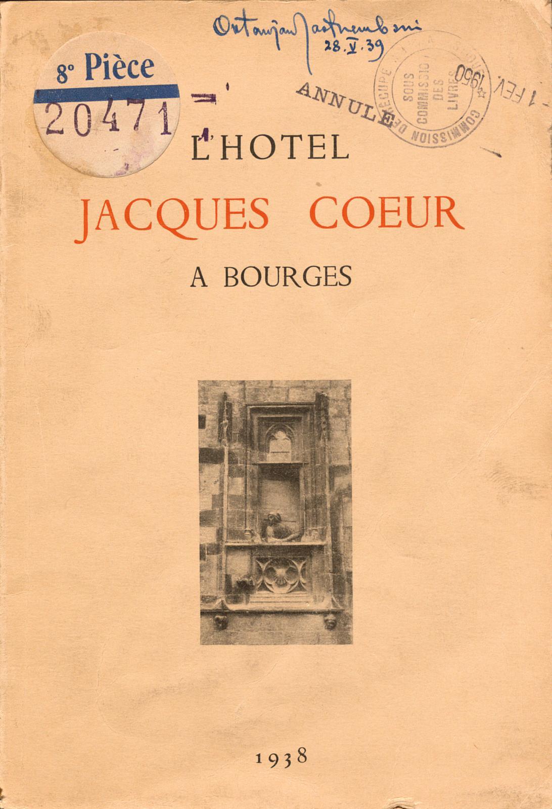 Ex-libris du peintre Oktawian Jastrzembski sur l'ouvrage L'Hôtel Jacques Cœur à Bourges (1938), recouvert du tampon de lasous-commission
