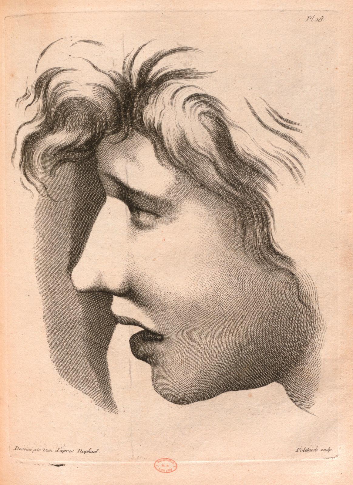 Joseph-Marie Vien d'après Raphaël, planche n°18 de la Méthode pour apprendre le desseinpar Charles-Antoine Jombert, eau-forte et burin,