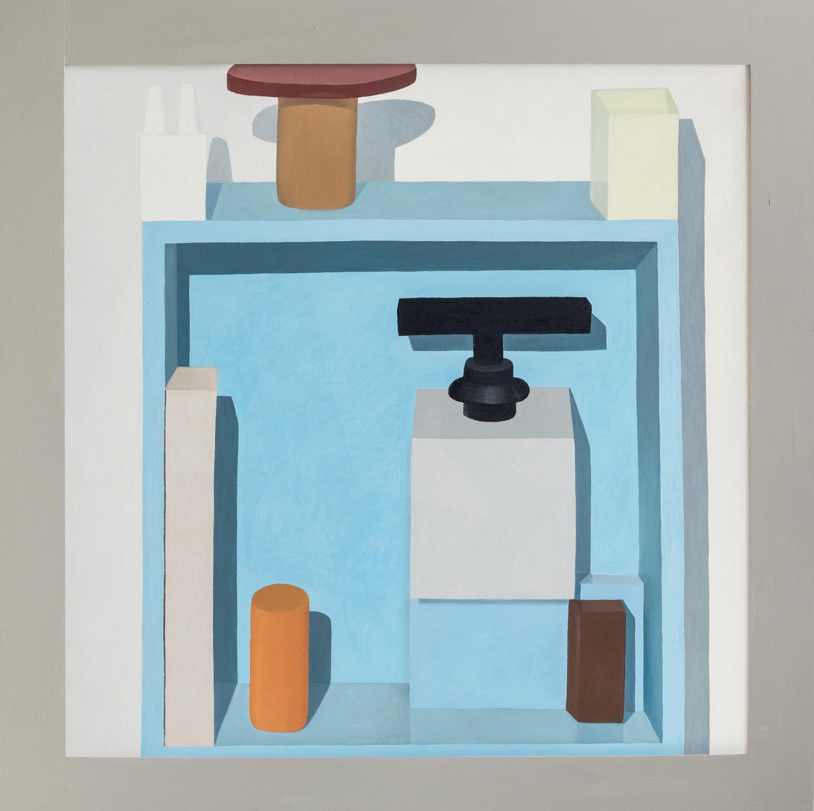 Nathalie Du Pasquier (née en 1957), Untitled,2014, huile sur toile avec cadre peint, 120 x 120 cm. Collection Hiscox.
