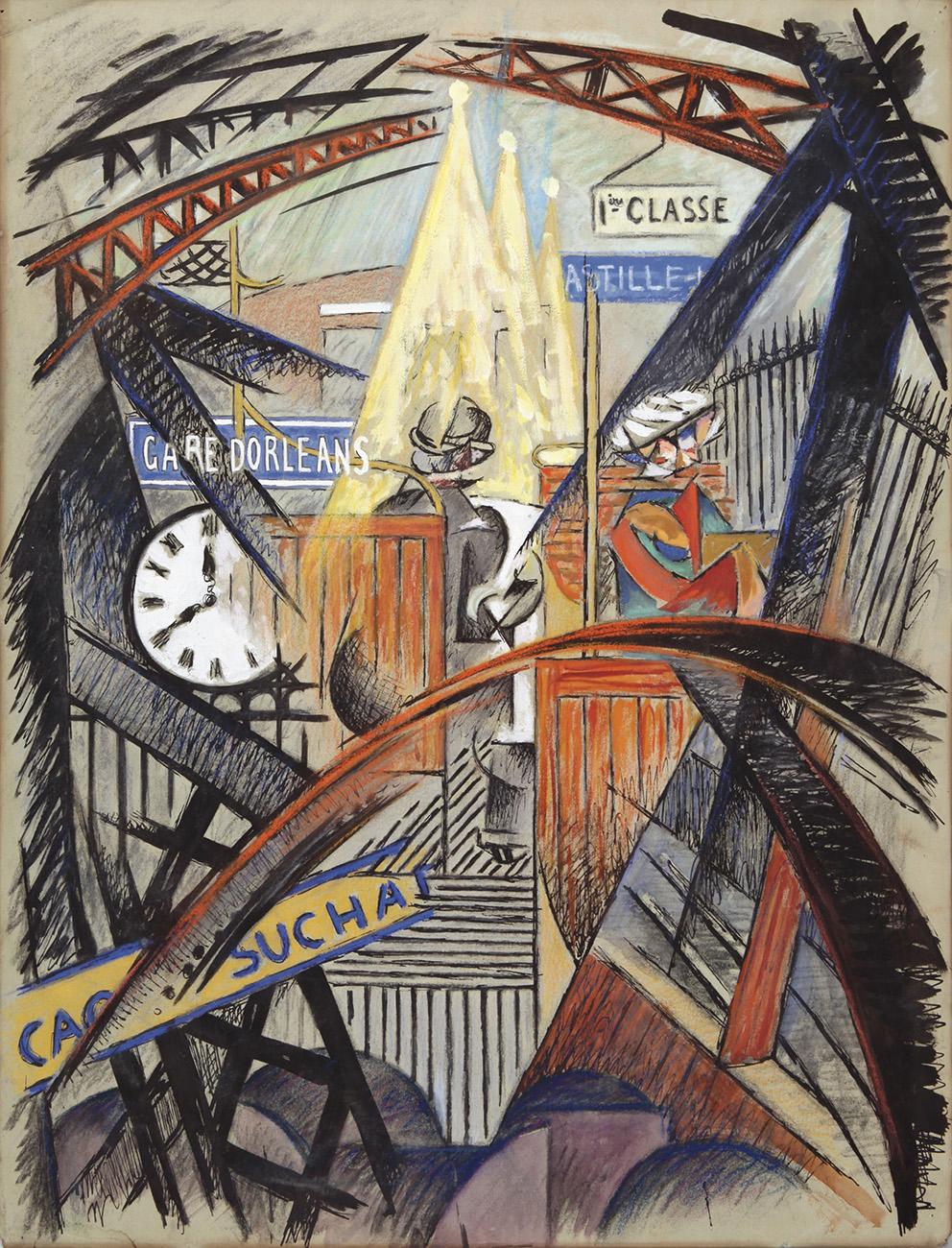 Métro, gare d'Orléans, vers 1912-1914, encre noire, gouache et pastel, 65x50cm. Estimation: 15000/20000€