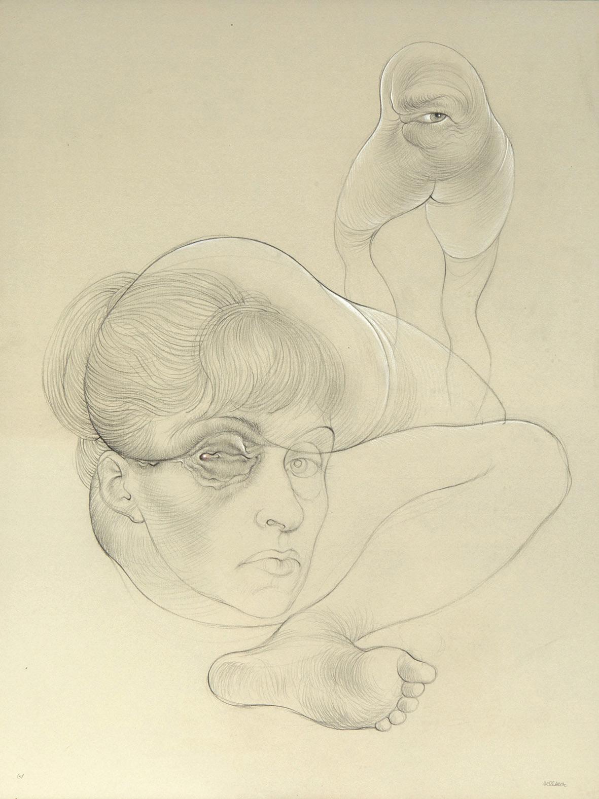 Comme Brauner, Hans Bellmer(1902-1975) est l'un des poulains défendus par la galerie André-François Petit. Ce dessin au crayon rehaussé d
