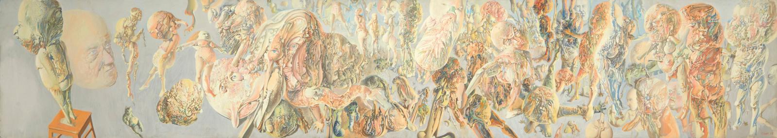 Traitée en frise, cette toile de 1965 figurant un Massacre recueillait 39742€. C'est du cerveau de Dado (1933-2010) qu'est née cette scè