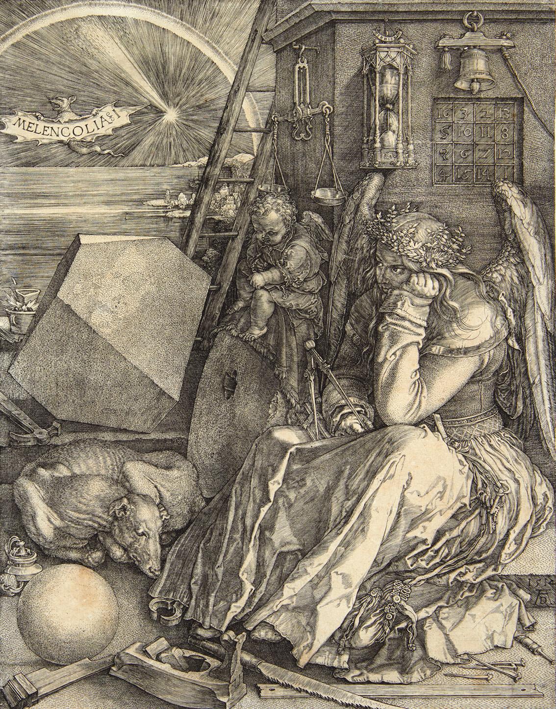 Albrecht Dürer(1471-1528), Melencolia1, 1514, burin (détail), 24,1x18,6cm. Adjugé: 40640€