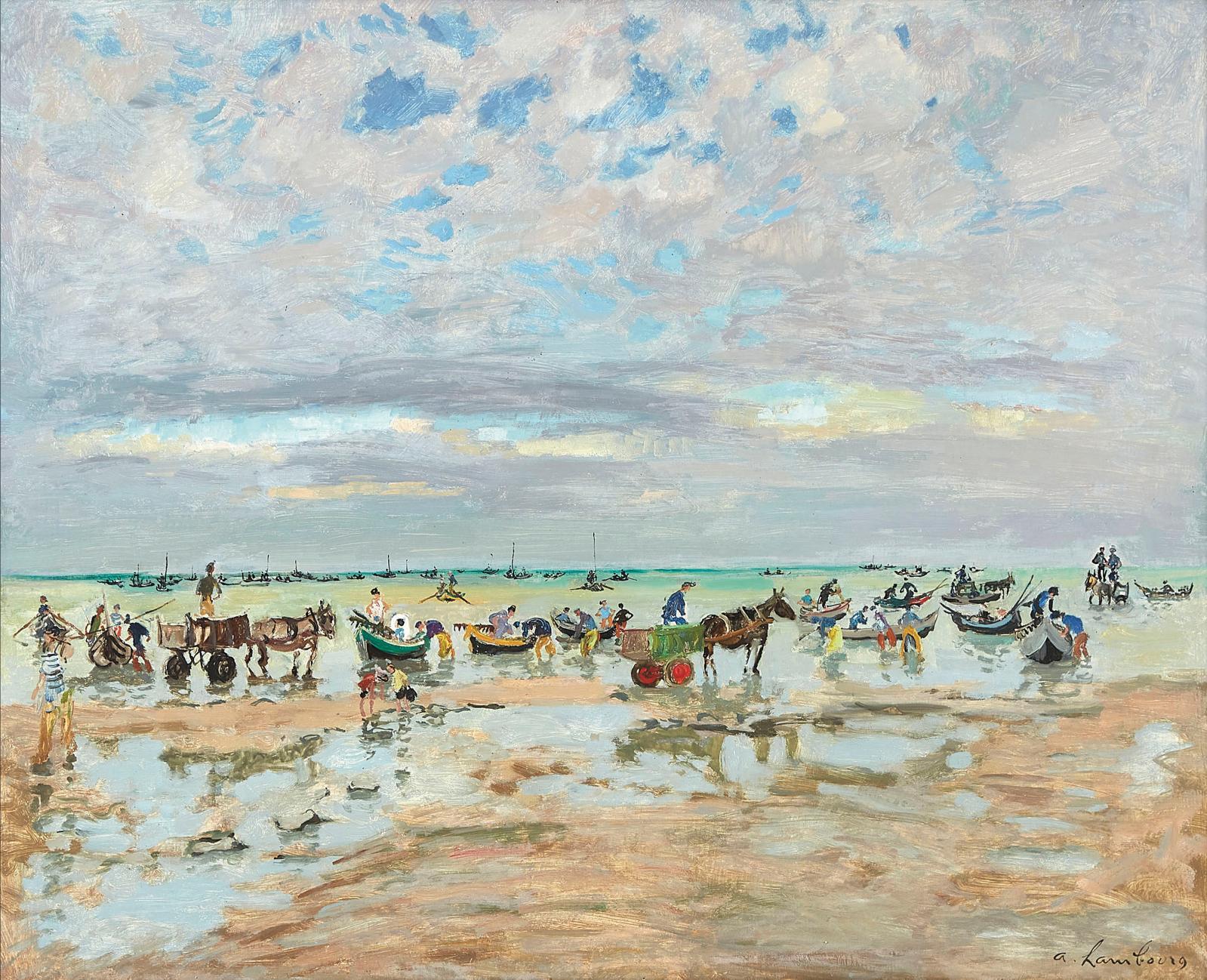 André Hambourg (1909-1999), Pêcheurs de moules à Luc-sur-Mer, 1957, huile sur toile, 81x100cm. Adjugé: 13860€