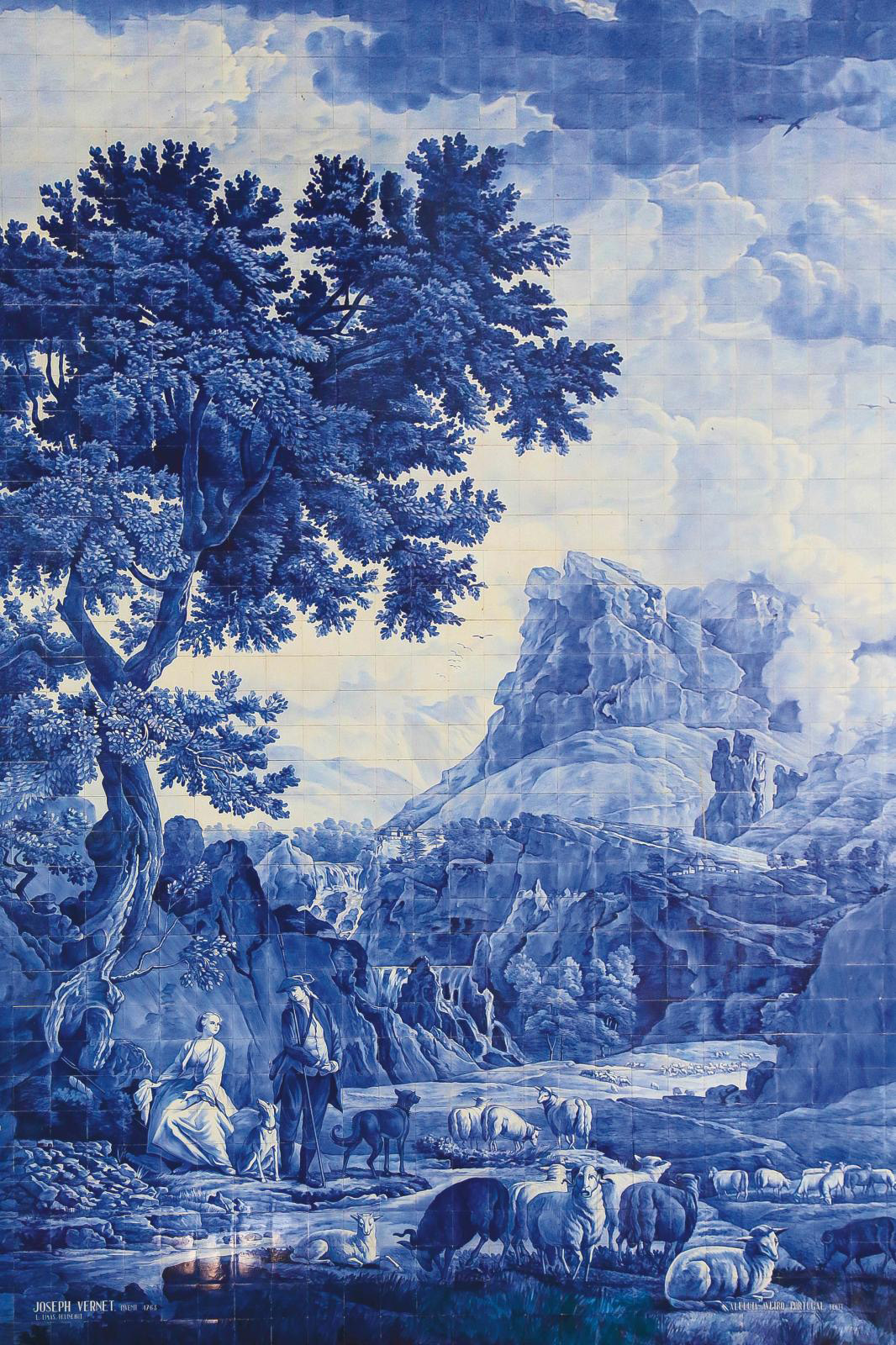 Azulejo made by the Aleluia factory based on La Bergère des Alpes (The Shepherdess in the Alps) by Joseph Vernet (1714-1789).© Château de
