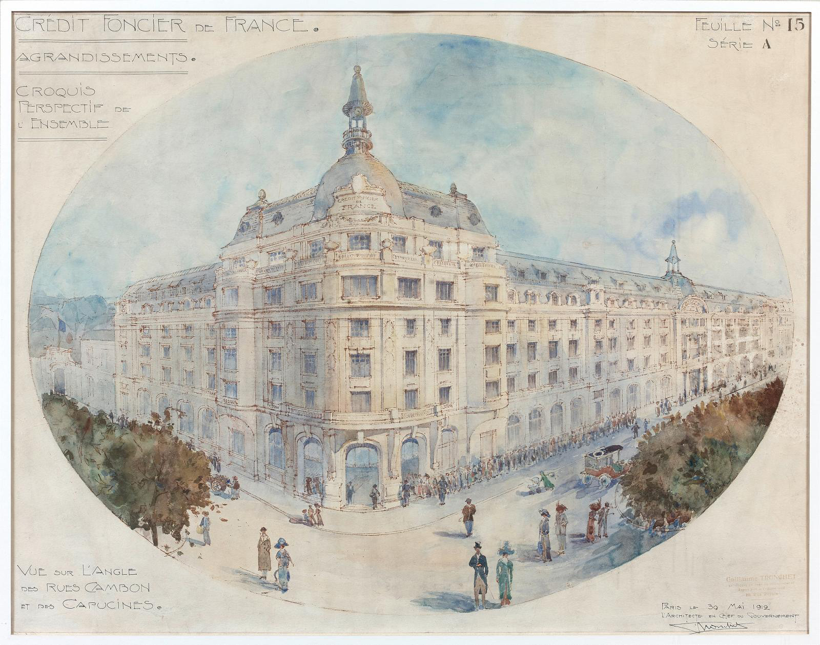 Guillaume Tronchet (1867-1959), Projet d'agrandissement du Crédit foncier de France (Plans for the extension of the Crédit Foncier de Fran