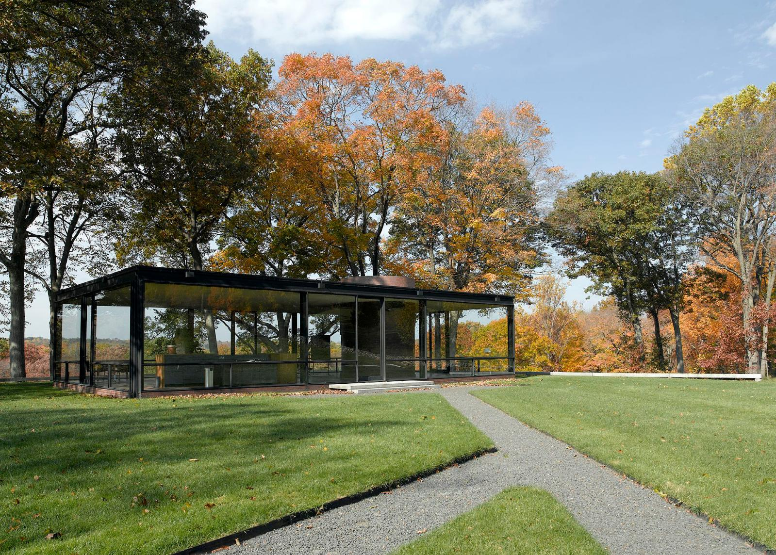 The Glass House (exterior), Philip Johnson, 1949, New Canaan, CT, USA.