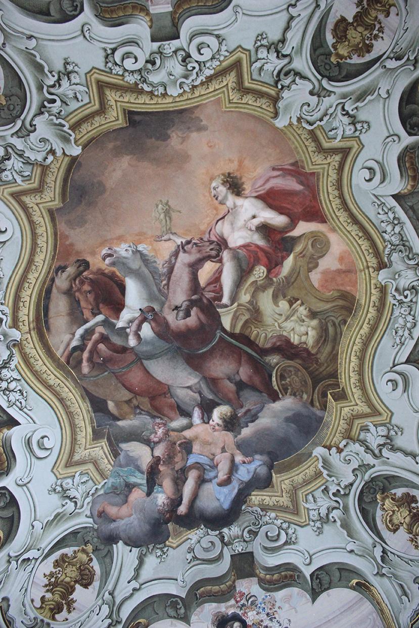 Gioacchino Martorana, Le Triomphe d'Apollon, décor du plafond Salon vert. DR