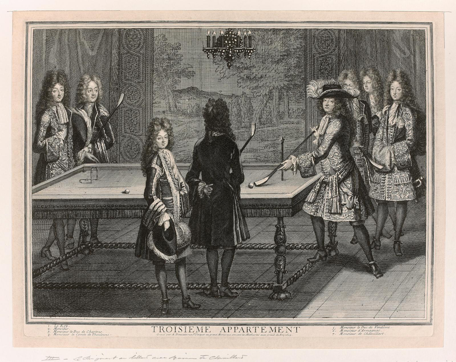 Antoine Trouvain (1650-1710), Le Roi jouant au billard avec monsieur de Chamillard (The King playing billiards with Monsieur de Chamillard