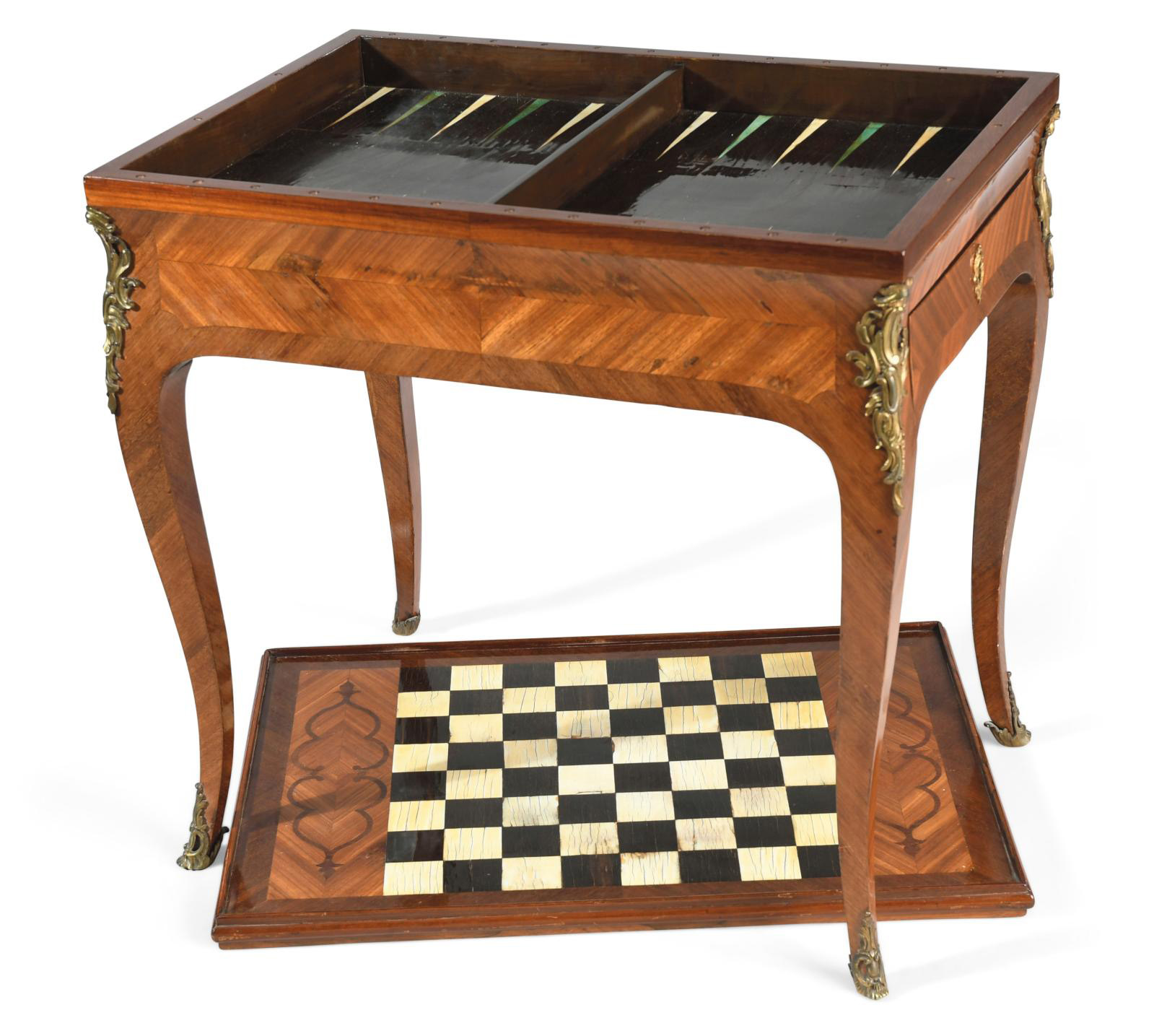 18th-century tric-trac table in bloodwood veneer with kingwood frames, removable top with one side upholstered in leather and the other fe