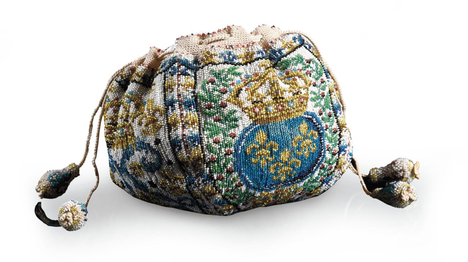 Late 18th-century French work, made for Louis XVI, king of France, Polychrome beaded purse with an ivory background, decorated with France
