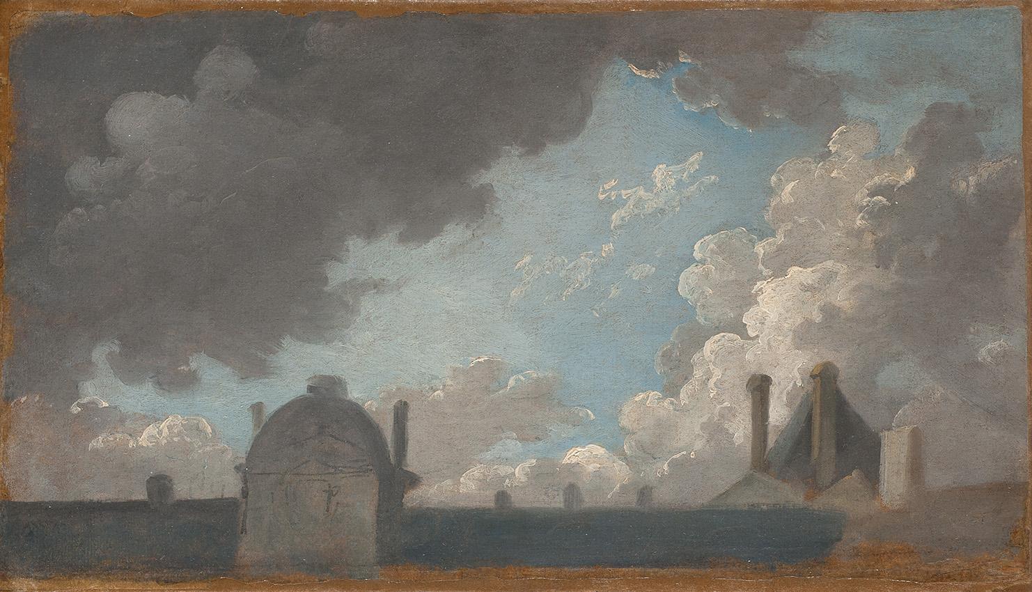 Pierre-Antoine Demachy (1723-1807), Nuages au-dessus des toits du Louvre, vers 1769-1785, huile sur papier, contrecollée sur panneau, 18,6