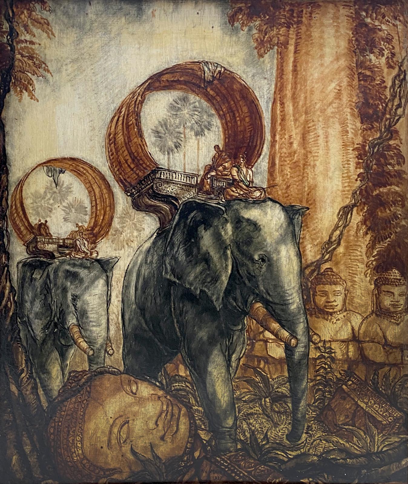 André Maire (1898-1984), Éléphants déambulant dans un temple asiatique en ruine,huile sur panneau signée et datée «1937»en bas à droite,
