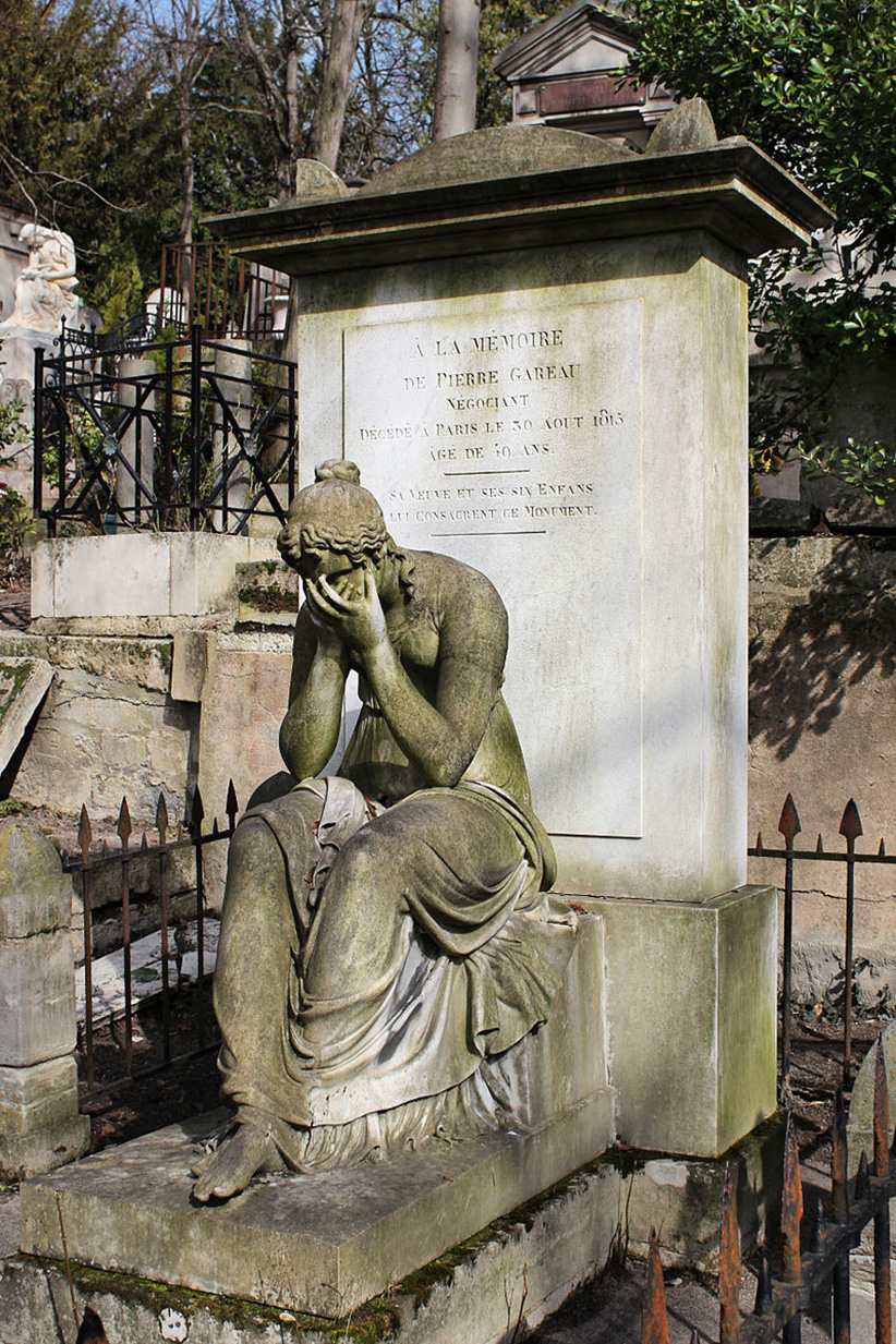 Tomb of Pierre Gareau, the monument consists of a square-shaped pillar with carved figure La Douleur (Pain), 1815-1816, by François Milhom
