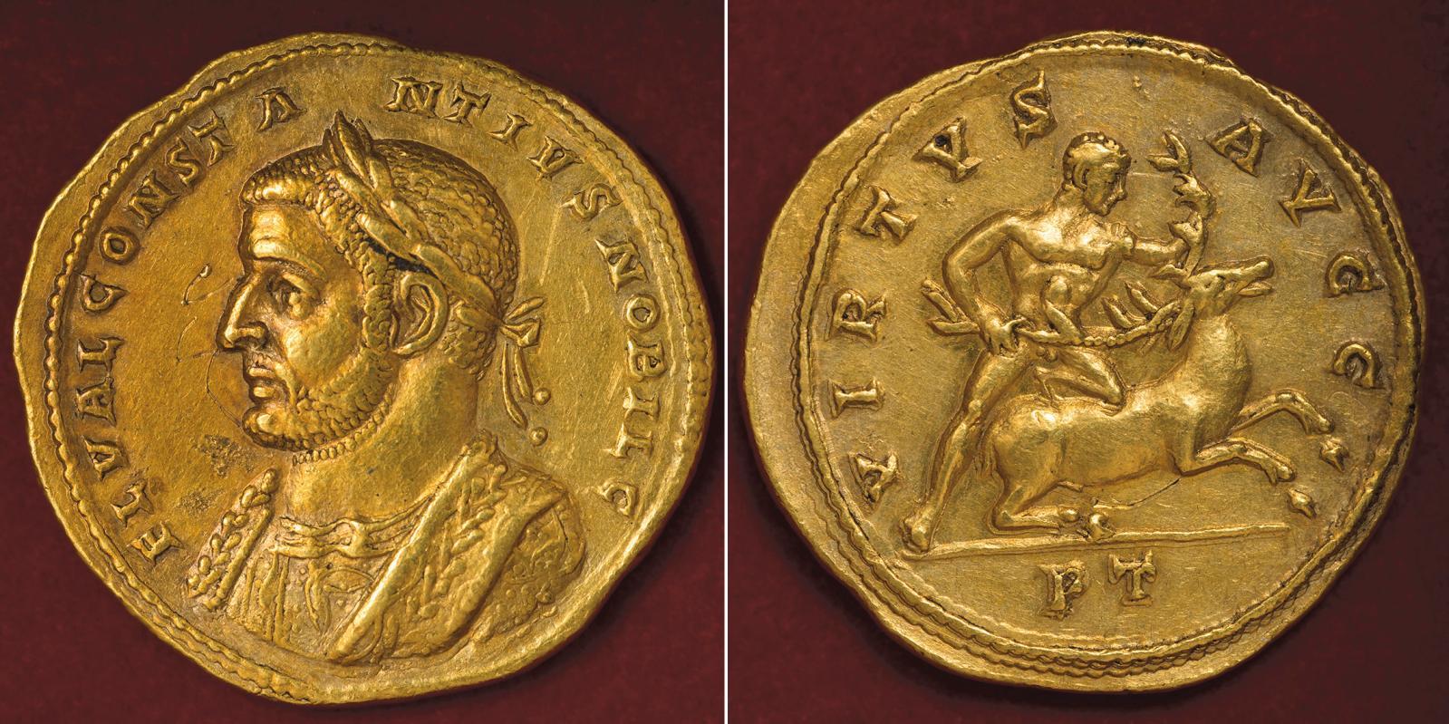 Multiple de 5aurei à l'effigie de Constance Chlore, émis à Trèves en 294 pour fêter la fondation de la Tétrachie, or, 27g. Au revers: «