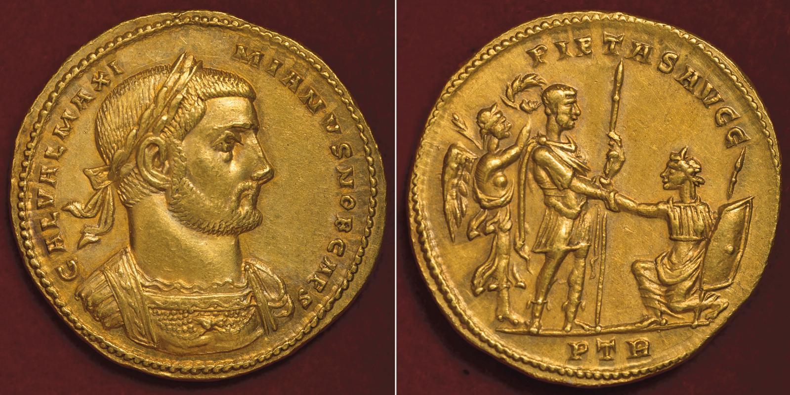Multiple de 5aurei à l'effigie de Galère Maximien, émis à Trèves en 297 pour célébrer la reconquête de la Britannia, or, 26,22g. Au reve