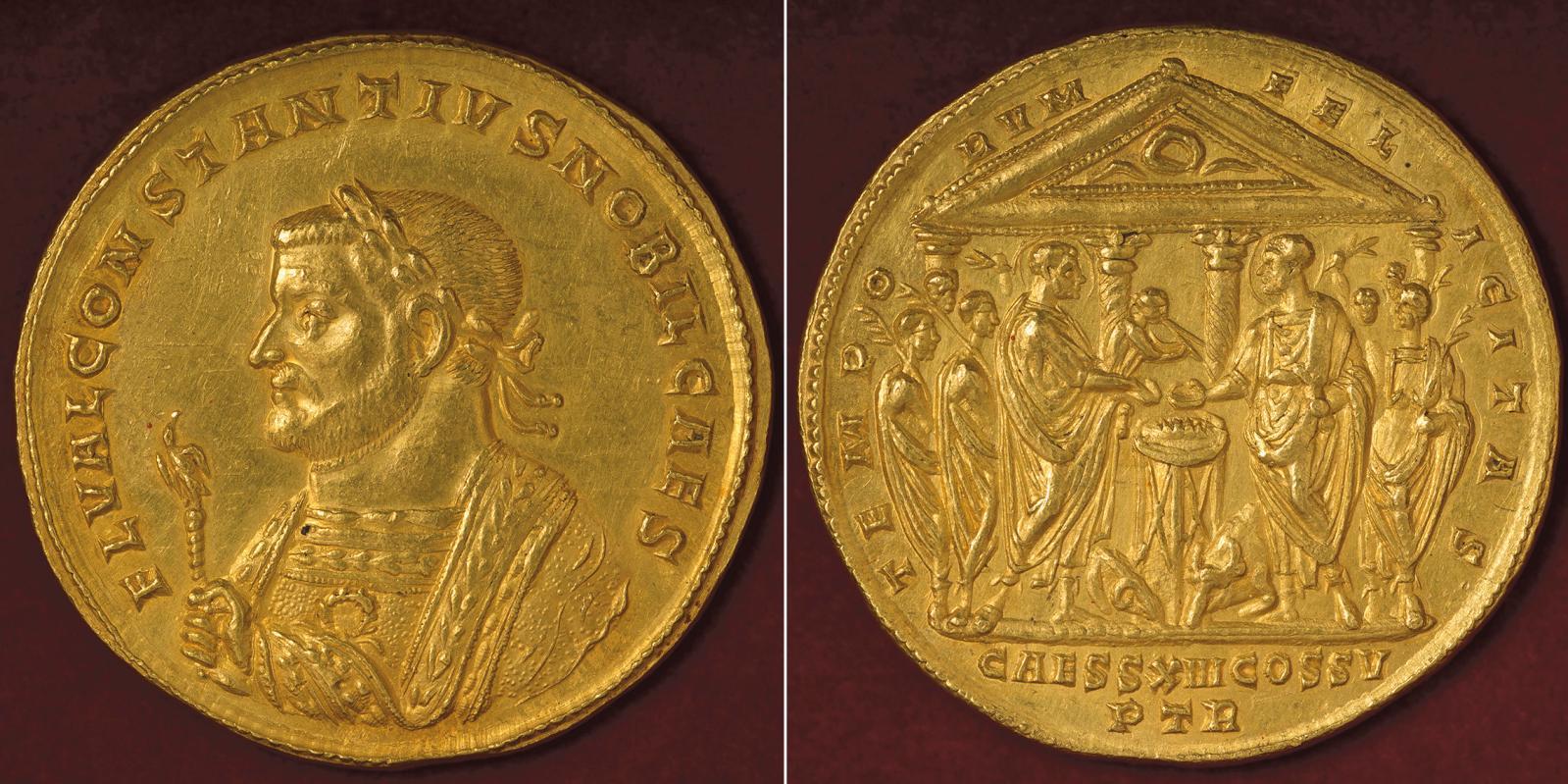 Multiple de 8aurei à l'effigie de Constance Chlore, émis à Trèves en 305, or, 41,9g. Au revers: «Le bonheur des temps, pour la treiziè