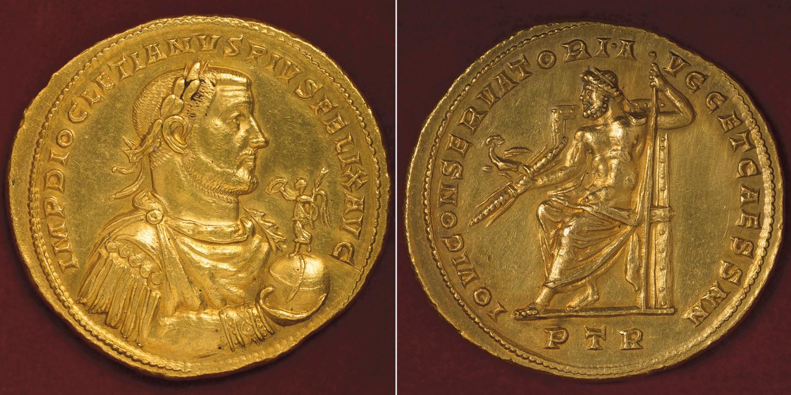 Multiple de 10aurei à l'effigie de Dioclétien, émis à Trèves en 304 pour fêter l'anniversaire de la Tétrarchie (Vicennalia), or, 52,6g.