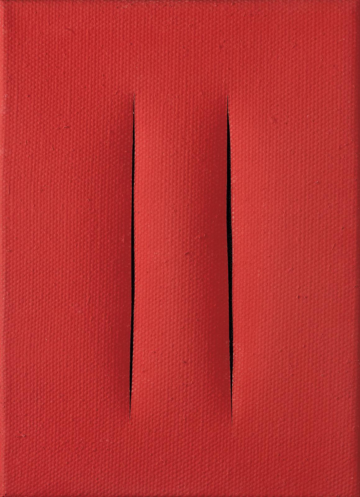 569000€ Lucio Fontana (1899-1968), Concetto Spaziale, 1959 (Attese), peinture sur soie lacérée, signée et titrée, 22x15,5cm. Versaill
