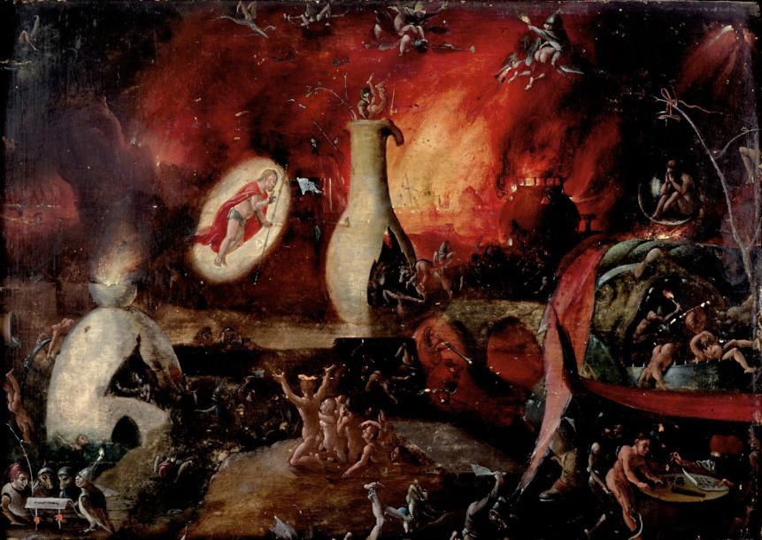 122140€ Pieter Huys (1519-1594), Le Christ aux limbes, panneau de chêne, une planche, non parqueté, 27x39,5cm. Drouot, 21novembre20