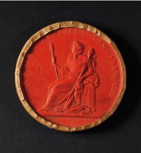 1288€ Sceau de l'Empire français, modèle des Cent-Jours, avers à l'Empereur en majesté, revers aux grandes armes impériales, cire rouge,