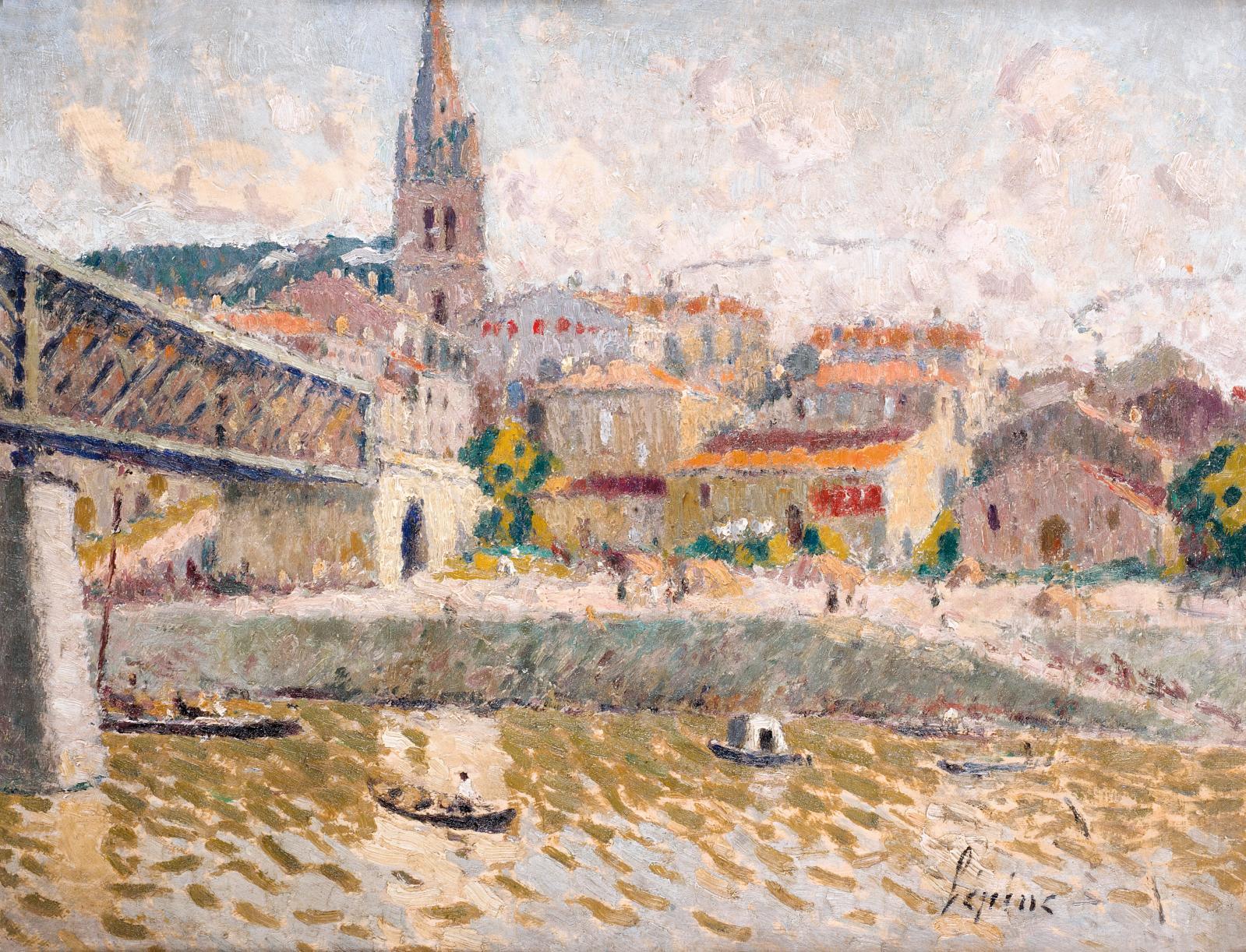 Joseph Lépine (1867-1943), Le Pont de Branne, huile sur carton signée en bas à droite, 45x55,5cm. Adjugé: 7000€