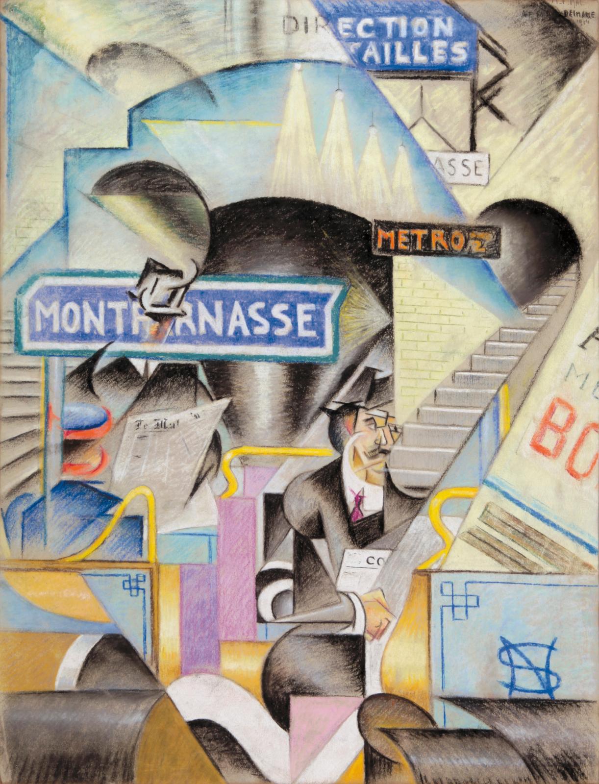 Félix Del Marle (1889-1952), Station de métro Montparnasse (Montparnasse Metro Station), 1914, signed and dated pastel, 64 x 49 cm (25.19