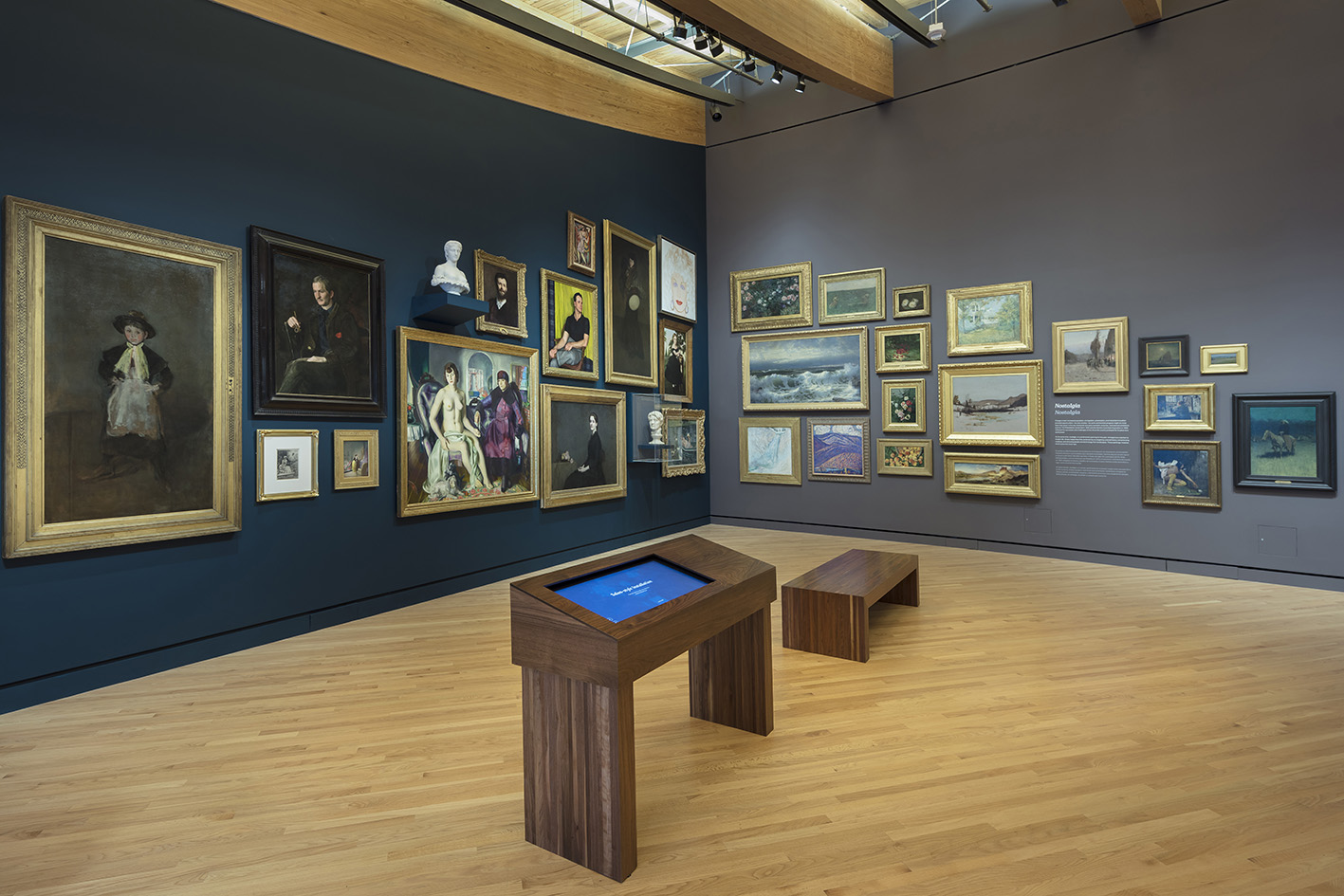 Salon style hang in Early American Gallery.Image Courtesy of Crystal Bridges Museum of American Art